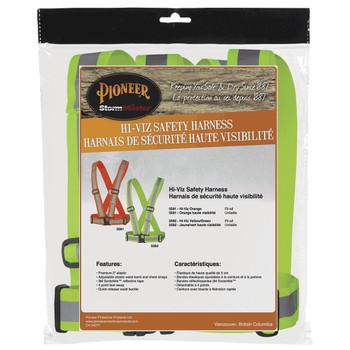 Pionner 5592 Adjustable 4-Point Tear-Away Adjustable Safety Sash - Hi-Viz Yellow/Green | Safetywear.ca