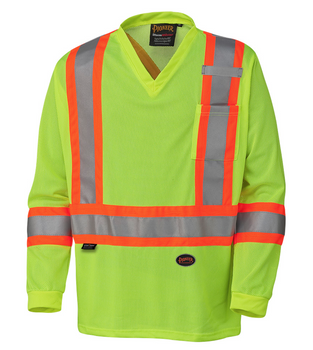 Yellow/Green Hi-Viz Traffic Long-Sleeved Shirt | Safetywear.ca