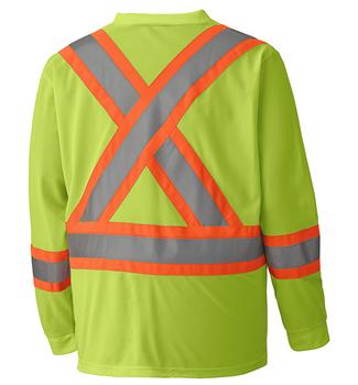 Yellow/Green Hi-Viz Traffic Long-Sleeved Shirt   Safetywear.ca