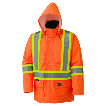 Pioneer 5594 Hi-Viz 150D Lightweight Waterproof Safety Jacket with Detachable Hood | SafetyWear.ca