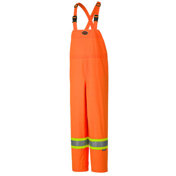 Orange - Hi-Viz 150D Lightweight Waterproof Safety Bib Pant | Safetywear.ca