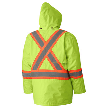 Yellow/Green Hi-Viz 150D Lightweight Safety Jacket with Detachable Hood Back | Safetywear.ca