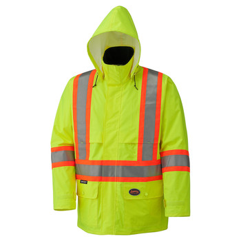 Yellow/Green Hi-Viz 150D Lightweight Safety Jacket with Detachable Hood | Safetywear.ca
