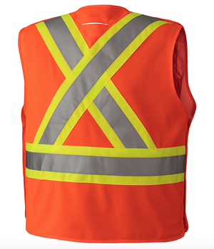 Orange - 6930 Hi-Viz Safety Tear-Away Vest, Back | Safetywear.ca
