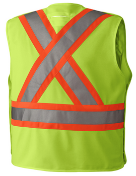 Hi-Viz Yellow/Green, Back - 6931 Hi-Viz Safety Tear-Away Vest | Safetywear.ca