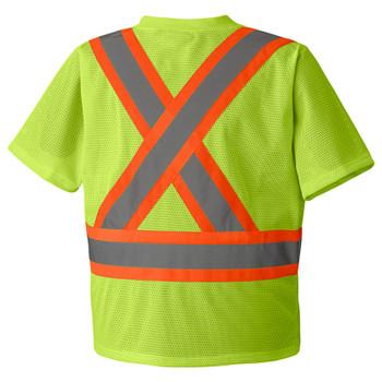 Hi-Viz Yellow/Green, Back -  5997 Hi-Viz Traffic T-Shirt | Safetywear.ca