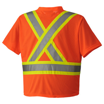 Hi-Viz Orange, Back - 6979 Hi-Viz Traffic Micro Mesh T-Shirt | Safetywear.ca