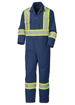 Pioneer 5516 Safety Poly/Cotton Coverall - Navy | Safetywear.ca