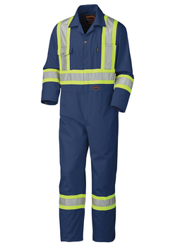 Navy - 5516T Safety Poly/Cotton Coverall | SafetyWear.ca