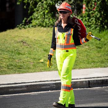 Pioneer 6000 Traffic Safety Overalls - Mesh Arm & Leg Panels - Hi-Viz Yellow/Green | Safetywear.ca