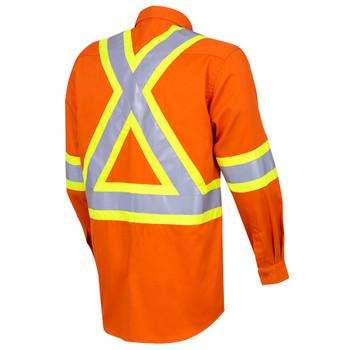 Back - 4441 Hi-Viz Cotton Long-Sleeved Safety Shirt
