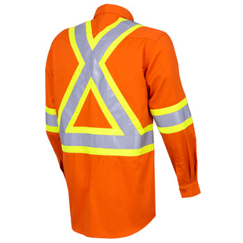 Back - 4441 Hi-Viz Cotton Long-Sleeved Safety Shirt