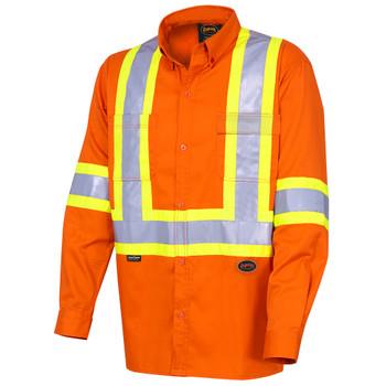 Front - 4441 Hi-Viz Cotton Long-Sleeved Safety Shirt