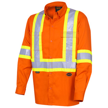 Front - 4441 Hi-Viz Cotton Long-Sleeved Safety Shirt
