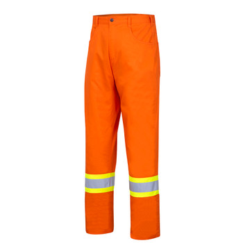 Front - 4461 Hi-Viz Cotton Safety Pant   Safetywear.ca