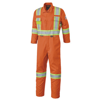 Safety Orange - 7705 Safety Orange FR-Tech™ Flame Resistant 7 oz Hi-Viz Safety Coverall with Leg Zippers | SafetyWear.ca