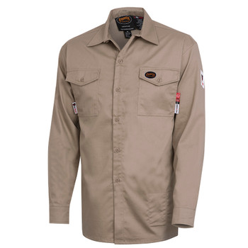 Khaki - 7741 FR-Tech® Flame Resistant 7 oz Safety Shirt  | SafetyWear.ca