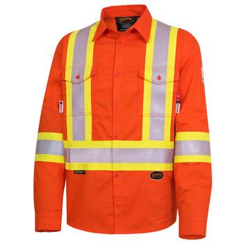 Pioneer 7743 Flame Resistant ARC Rated Safety Shirt - Hi-Viz Orange | SafetyWear.ca