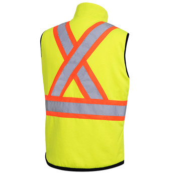 Hi-Viz Yellow/Green, Back - 6689 Hi-Viz Reversible Insulated Safety Vest | SafetyWear.ca