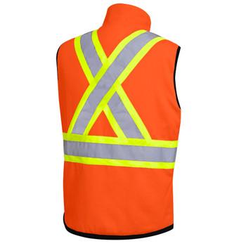 Hi-Viz Orange, Back - 6688 Hi-Viz Reversible Insulated Safety Vest | SafetyWear.ca