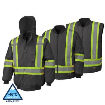 Pioneer 5026 Hi-Viz 100% Waterproof 6-IN-1 Bombers - Black | Safetywear.ca