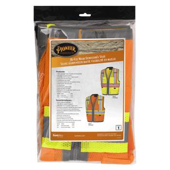 Orange - 6674 Pioneer Hi-Viz Mesh Surveyor's Vests - Poly Mesh | Safetywear.ca