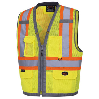 Yellow/Green - 6675 Pioneer Hi-Viz Mesh Surveyor's Vests - Poly Mesh | Safetywear.ca