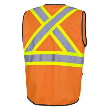 Orange - 6958 Pioneer Hi-Viz Zipper Front Safety Vests - Tricot Poly - Multipocket | Safetywear.ca