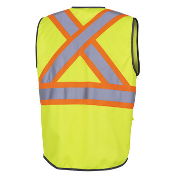 Yellow/Green - 6959 Pioneer Hi-Viz Zipper Front Safety Vests - Tricot Poly - Multipocket | Safetywear.ca