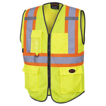 Pioneer 6959 Zipper Front Safety Vests - Tricot Poly - Multipocket - Hi-Viz Yellow/Green   Safetywear.ca