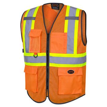Pioneer 6960 Zipper Front Safety Vests - Poly Mesh - Hi-Viz Orange   Safetywear.ca