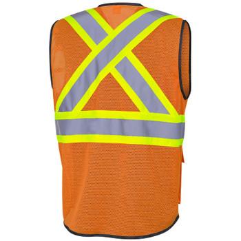 Orange - 6960 Pioneer Hi-Viz Zipper Front Safety Vests - Poly Mesh | Safetywear.ca