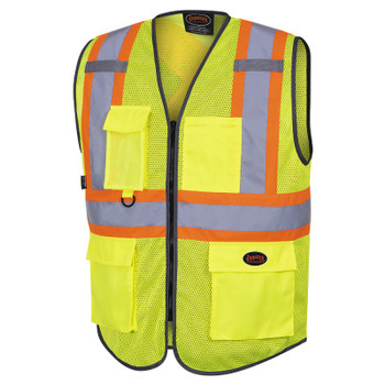 Yellow/Green - 6961 Pioneer Hi-Viz Zipper Front Safety Vests - Poly Mesh | Safetywear.ca