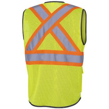 Pioneer 6961 Zipper Front Safety Vests - Poly Mesh - Hi-Viz Yellow/Green   Safetywear.ca
