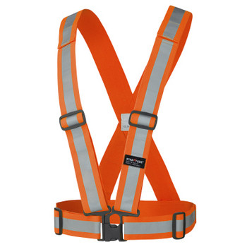 "HV Orange - 5591A Pioneer Hi-Viz 2"" Adjustable Safety Sash - 4 Point Tear-Away - 5-Pack 