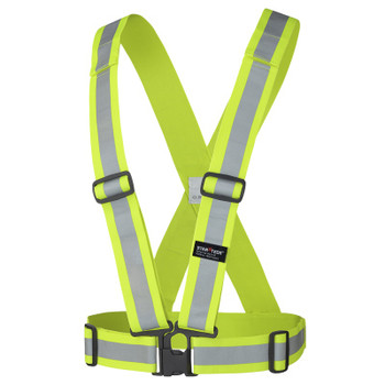 "HV Yellow/Green - 5592A Pioneer Hi-Viz 2"" Adjustable Safety Sash - 4 Point Tear-Away - 5-Pack 