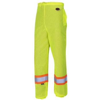 Yellow/Green - 5670 Pioneer Hi-Viz Traffic Safety Pants - Poly Mesh - Mesh Leg Panels | Safetywear.ca