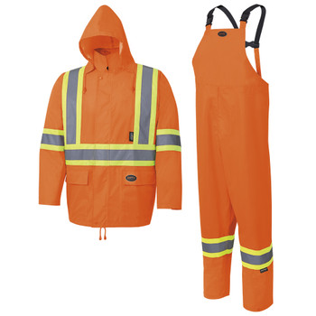 Orange - 5618 Pioneer Hi-Viz Rain Suit - 1500 Oxford Poly/PU - Hangable Bag | Safetywear.ca