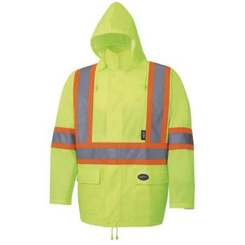 Yellow/Green - 5619 Pioneer Hi-Viz Rain Suit - 1500 Oxford Poly/PU - Hangable Bag | Safetywear.ca