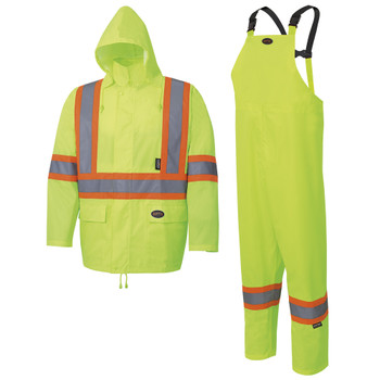 Yellow/Green - 5619 Pioneer Hi-Viz Rain Suit - 1500 Oxford Poly/PU - Hangable Bag | Safetywear.ca
