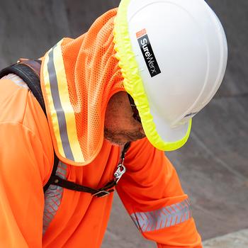Pioneer 292 Hard Hat Mesh Sun Shade - HI-Viz Orange | Safetywear.ca