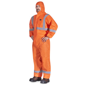 Pioneer 2077 Disposable SMS Coverall With Reflective Tape - Orange | Safetywear.ca