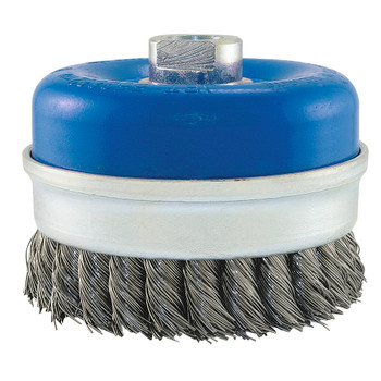 "553670 4"" Knot Banded Cup Brush For Stainless Steel 