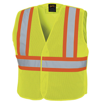 598P HI-VIZ Tear-Away Mesh Safety Vest - Poly Mesh - Hangable Bag- HV Yellow/Green | Safetywear.ca