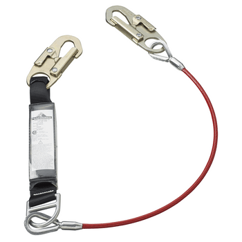 SA-4500-4 E4 Shock Absorbing Lanyard -SP- Single Leg - GALV. Cable - Snap Hooks - 4' (1.2 M) | Safetywear.ca