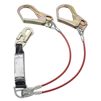 SA-45522-4 E4 Shock Absorbing Lanyard -SP- Twin Leg - GALV. Cable - Snap & Form HKS - 4' (1.2 M) | Safetywear.ca