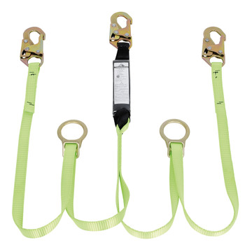 SA-44055-6 E4 Shock Absorbing Lanyard -SP- Twin Leg - Snap Hooks & Tie Backs - 6' (1.8 M) | Safetywear.ca