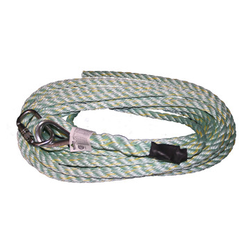 VL-1115-25 Vertical Lifeline - Carabiner & Back Splice - 25' (7.6 M)  | Safetywear.ca