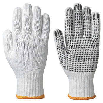 502 Knitted Cotton/Poly Gloves - Dots On Palm - White | Safetywear.ca