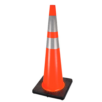 "186 36"" Premium PVC Flexible Safety Cone - 4"" And 6"" Bands 